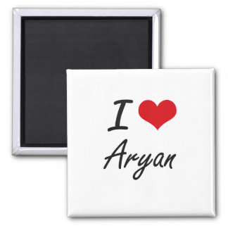 I Love Aryan 2 Inch Square Magnet