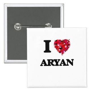 I Love Aryan 2 Inch Square Button