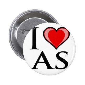 I Love AS - American Samoa Pinback Buttons