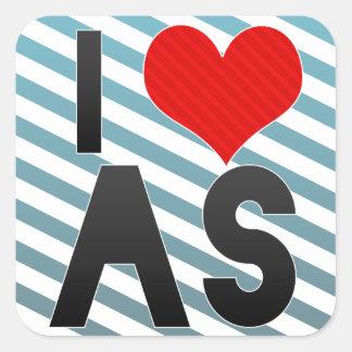 I Love AS Square Sticker