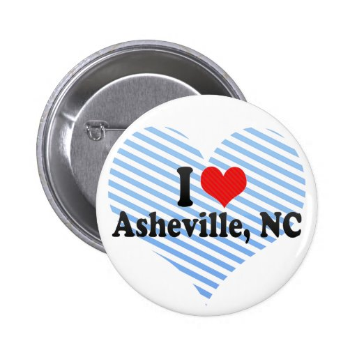 I Love Asheville, NC Buttons