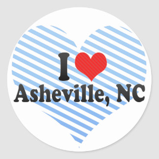 I Love Asheville, NC Round Stickers