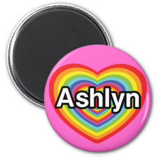 I love Ashlyn, rainbow heart Magnet