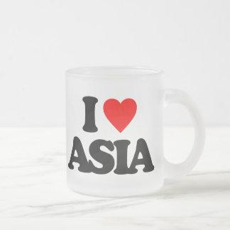I LOVE ASIA 10 OZ FROSTED GLASS COFFEE MUG