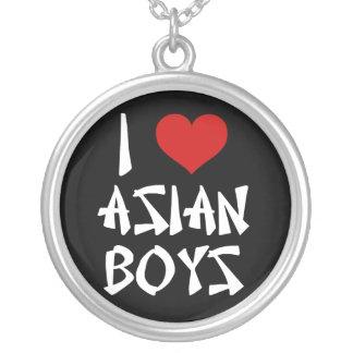 I Love Asian Boys Round Pendant Necklace