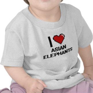 I love Asian Elephants Digital Design T-shirts