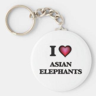 I Love Asian Elephants Keychain