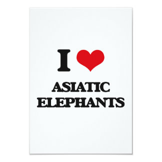 "I love Asiatic Elephants 3.5"" X 5"" Invitation Card"