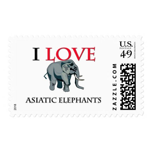I Love Asiatic Elephants Stamps