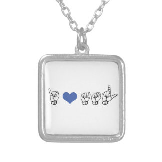 I Love ASL (American Sign Language) Necklace, Blue Silver Plated Necklace