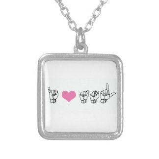 I Love ASL (American Sign Language) Necklace, Pink Silver Plated Necklace