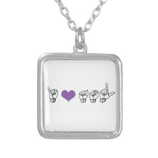 I Love ASL (American Sign Language) Necklace, Prpl Silver Plated Necklace