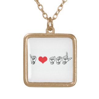 I Love ASL (American Sign Language) Necklace, Red Gold Plated Necklace