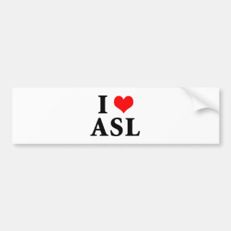 I Love ASL Bumper Sticker