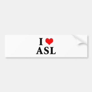 I Love ASL Car Bumper Sticker
