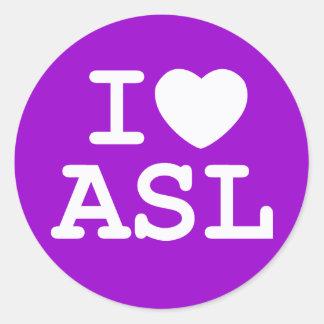 I Love ASL (Color) Classic Round Sticker