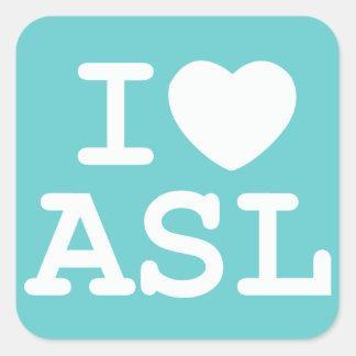 I Love ASL (Color) Square Sticker