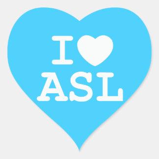I Love ASL (Color) Heart Sticker