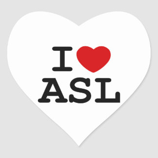 I Love ASL Heart Sticker
