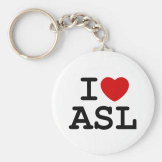 I Love ASL Keychain