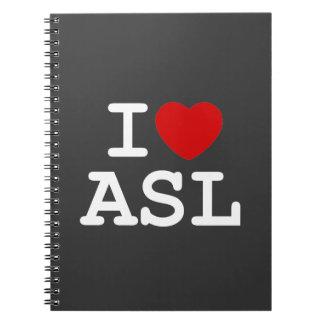I Love ASL Spiral Notebook