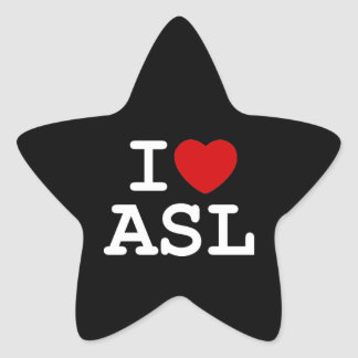 I Love ASL Star Sticker