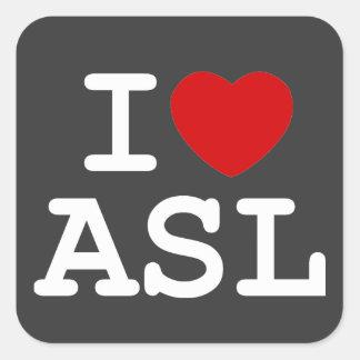 I Love ASL Square Sticker