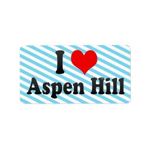 I Love Aspen Hill, United States Custom Address Label