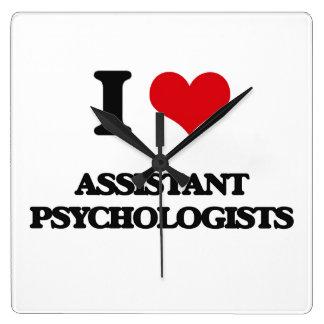I love Assistant Psychologists Square Wallclocks