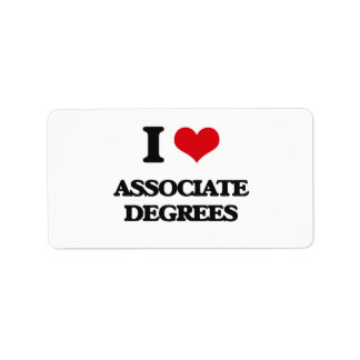 I Love Associate Degrees Personalized Address Label