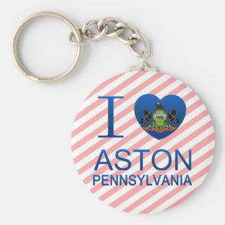 I Love Aston, PA Basic Round Button Keychain