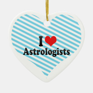 I Love Astrologists Double-Sided Heart Ceramic Christmas Ornament