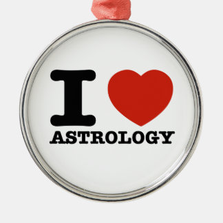 I love Astrology Round Metal Christmas Ornament