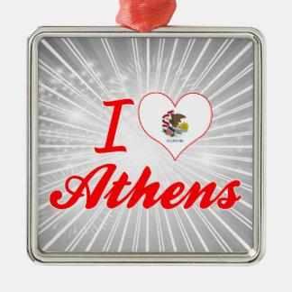 I Love Athens, Illinois Christmas Ornaments