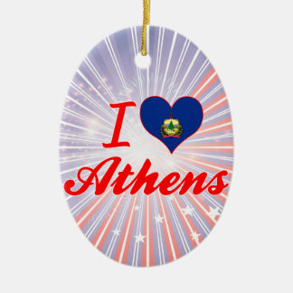 I Love Athens, Vermont Christmas Ornaments