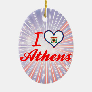 I Love Athens, West Virginia Christmas Tree Ornaments