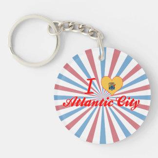 I Love Atlantic City, New Jersey Single-Sided Round Acrylic Keychain