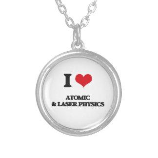 I Love Atomic & Laser Physics Round Pendant Necklace