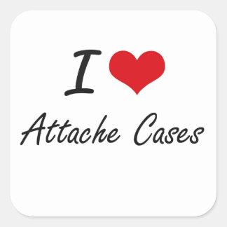 I Love Attache Cases Artistic Design Square Sticker
