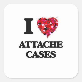 I Love Attache Cases Square Sticker
