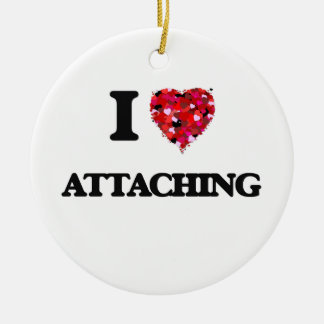 I Love Attaching Double-Sided Ceramic Round Christmas Ornament