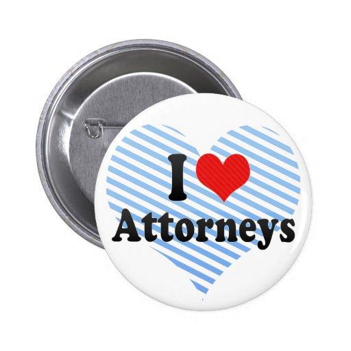I Love Attorneys Pins