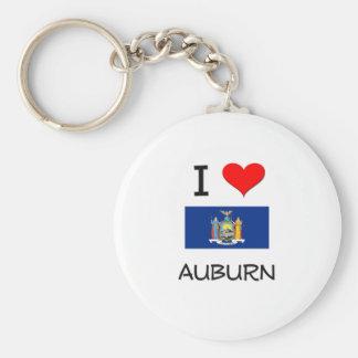 I Love Auburn New York Basic Round Button Keychain
