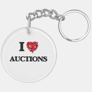 I Love Auctions Double-Sided Round Acrylic Keychain