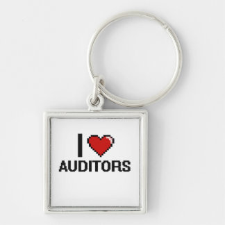 I love Auditors Silver-Colored Square Keychain