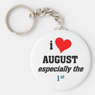 I love august 1st basic round button keychain