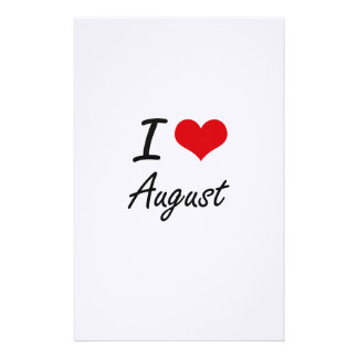 I Love August Artistic Design Stationery