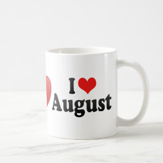 I Love August Classic White Coffee Mug