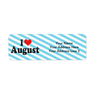 I Love August Return Address Label