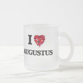 I Love Augustus Frosted Glass Coffee Mug